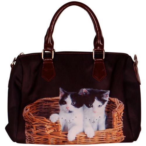 Handtas zwart/witte kittens in een mandje