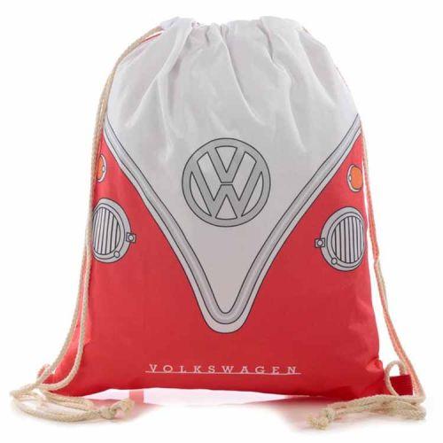 Trekkoord tas - Volkswagen Kampeerbus rood