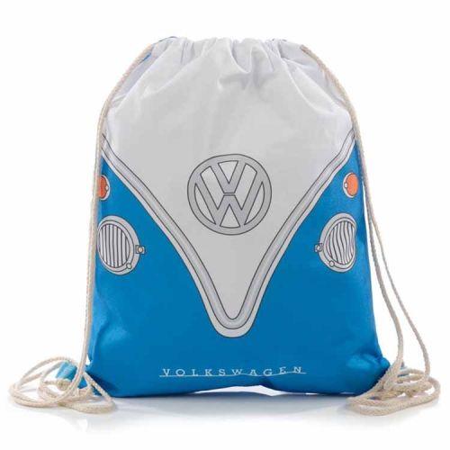 Trekkoord tas - Volkswagen Kampeerbus blauw