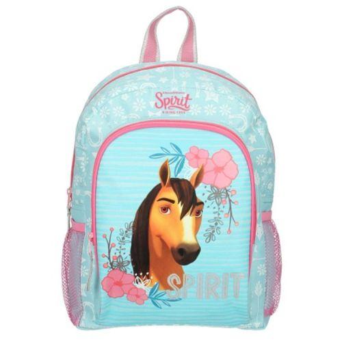 Rugzak paarden- Spirit Free Riding - lichtblauw met roze 35x24 cm