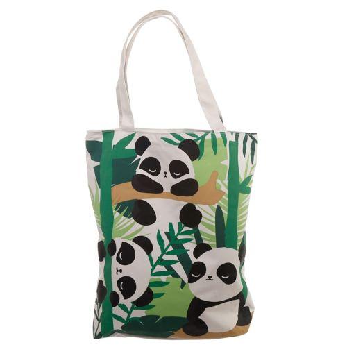 Katoenen tas met rits en voering - Pandarama