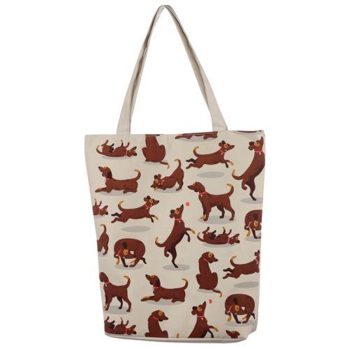 Katoenen tas met rits en voering - Hondjes