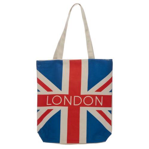 Katoenen tas met rits en voering - London