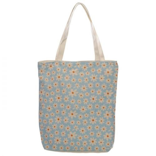 Katoenen tas met rits en voering - Margrietjes