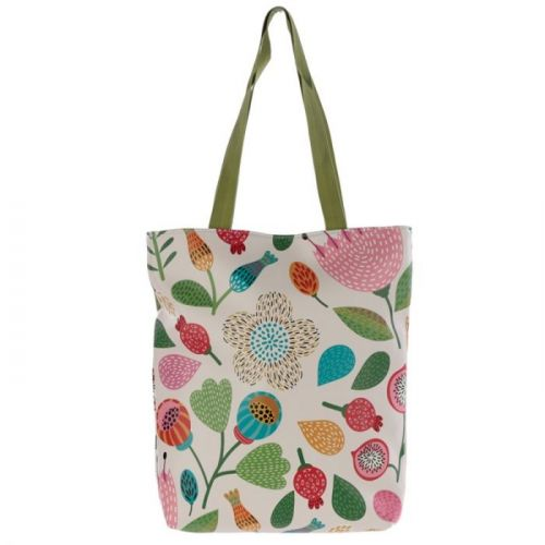 Tas met rits en voering - bloemen en bladeren
