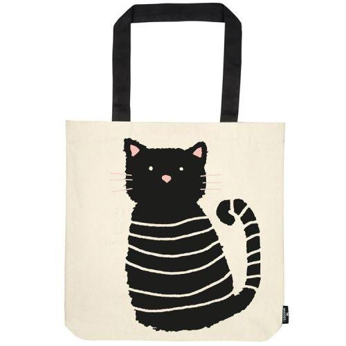 Katoenen tas zwarte kat miau