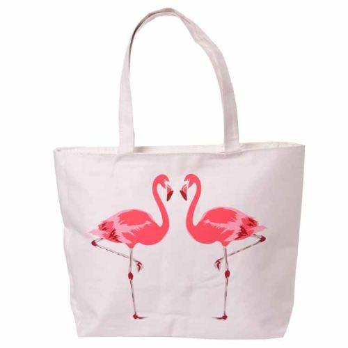Katoenen tas met rits en voering - Flamingo