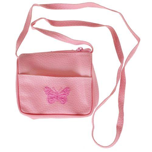 Schoudertasje roze met geborduurde vlinder