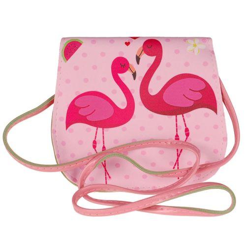 Schoudertasje roze met Flamingo's
