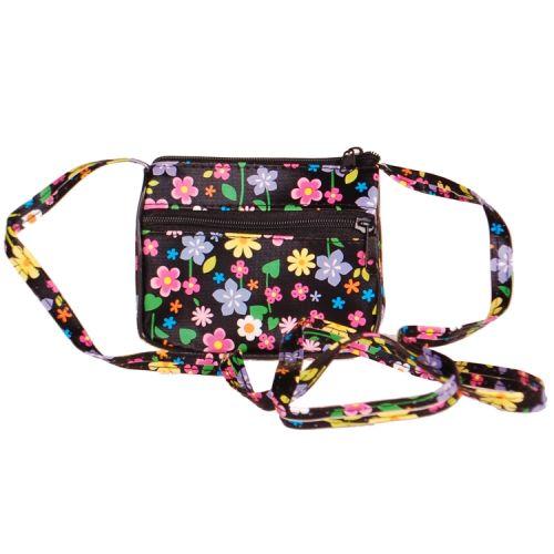 Schoudertasje zwart met bloemen
