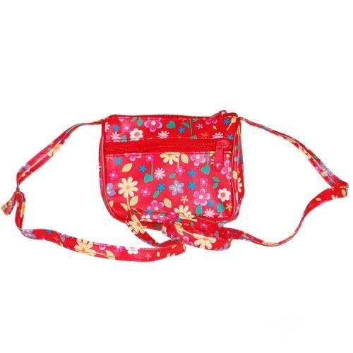 Schoudertasje rood met bloemen