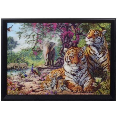 3-d schilderij tijgers en olifanten