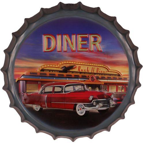 Bierdop/kroonkurk Diner rode oldtimer
