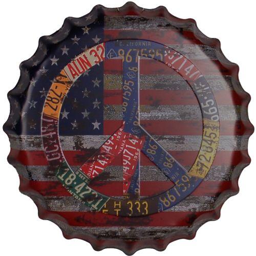 Bierdop/Kroonkurk Amerkaanse Vlag - Peace Sign