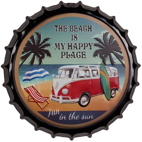 Bierdop/Kroonkurk Volkswagen busje - Beach
