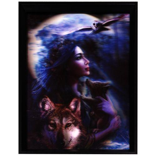 3d schilderij Vrouw met wolven en uil