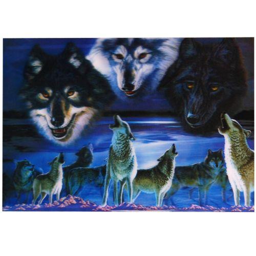 3-d poster huilende wolven