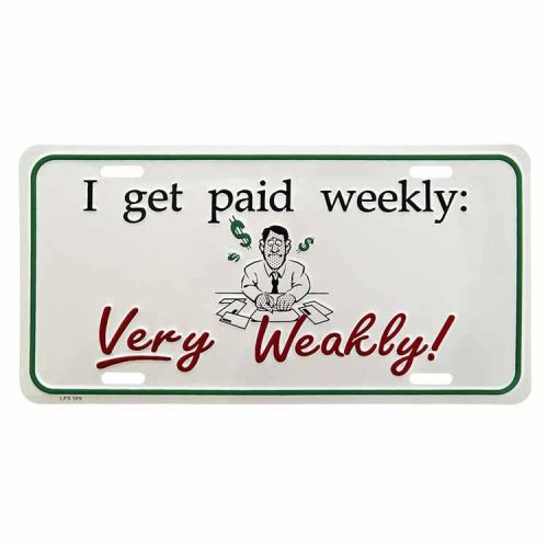 Amerikaans nummerbord - Paid Weekly