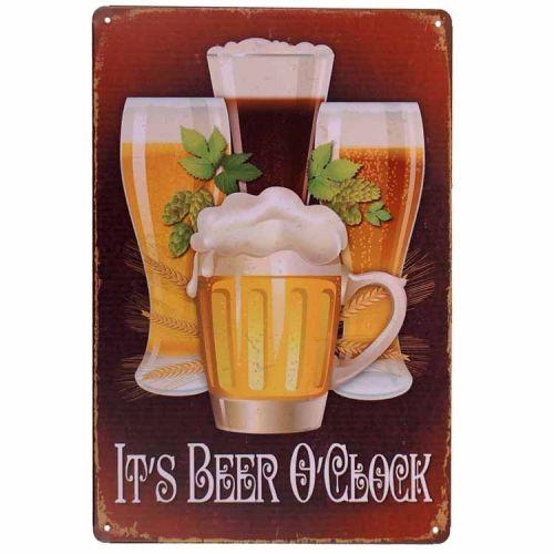 Metalen plaatje - It's Beer O'Clock