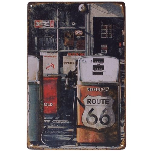 Metalen plaatje - Route 66 Gasstation