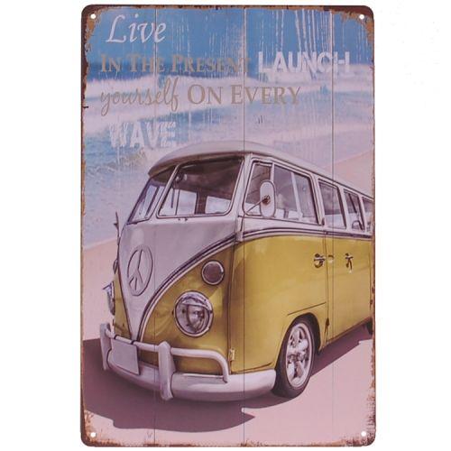 Metalen plaatje - Volkswagen busje - Live
