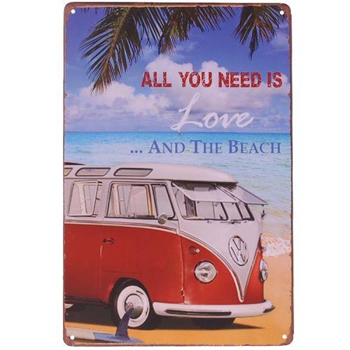 Metalen plaatje - Volkswagen kampeerbusje - Love