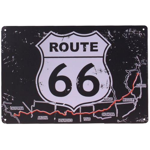 Metalen plaatje - Route 66 zwart/wit