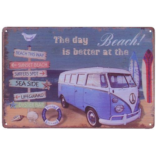 Metalen plaatje - Volkswagen Kampeerbusje Beach