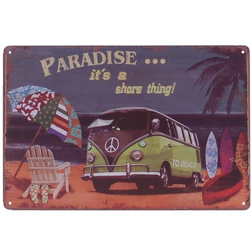 Metalen plaatje - Volkswagen Kampeerbusje Paradise