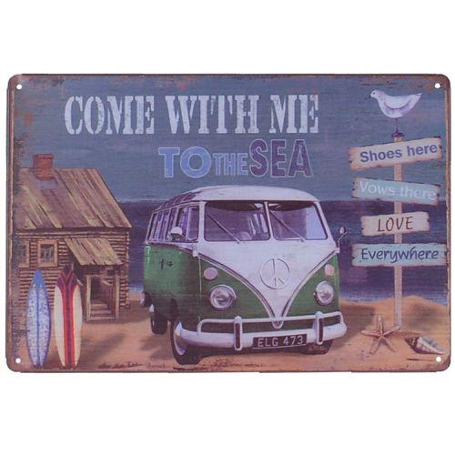Metalen plaatje - Volkswagen Kampeerbusje Sea