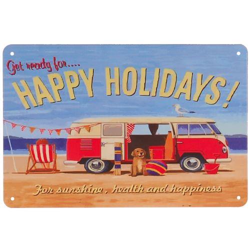 Metalen plaatje - Volkswagen busje Happy Holidays