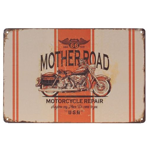Metalen plaatje - Route 66 Mother Road - Motor