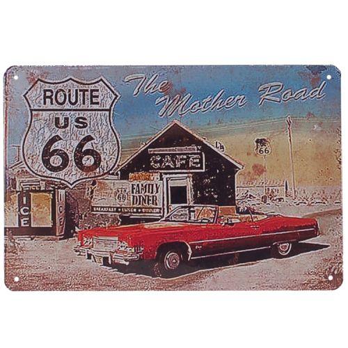 Metalen plaatje - Route 66 - Rode Auto