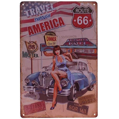 Metalen plaatje - Route 66 - Travel America