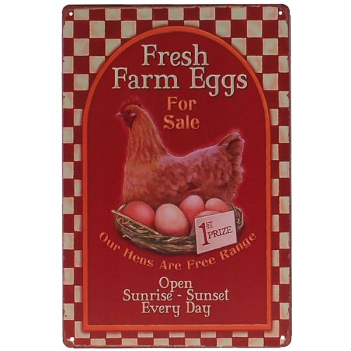 Metalen plaatje - Kip - Fresh Farm Eggs