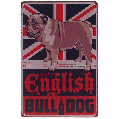 Metalen plaatje - Engelse Bulldog