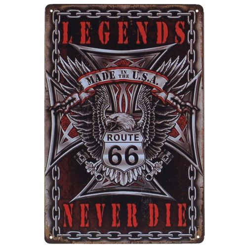 Metalen plaatje - Legends Never Die - Route 66