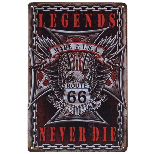 Metalen plaatje - Legends Never Die - Route 66