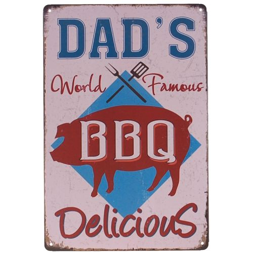 Metalen plaatje - Dad's BBQ World Famous