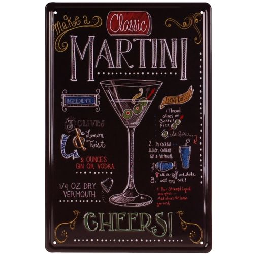 Metalen plaatje - Classic Martini