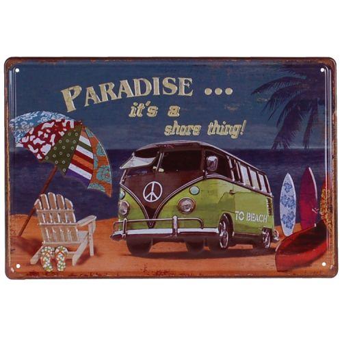 Metalen plaatje - Volkswagen busje Paradise