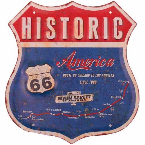 """Metalen schild - Route 66, Blauw/rood """"Historic"""""""