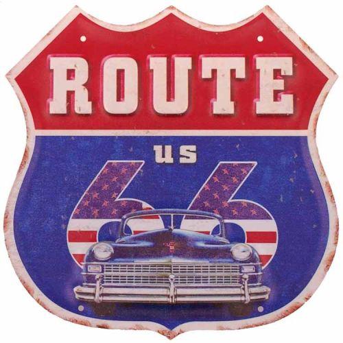 Metalen schild - Route 66, Blauw/rood, blauwe auto