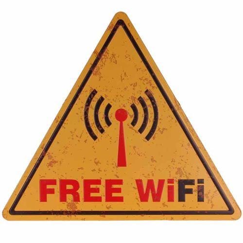 Metalen driehoek - Free wifi
