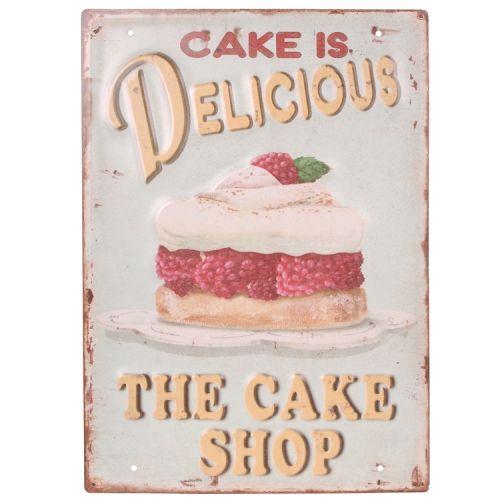 Metalen plaat - cake is delicious