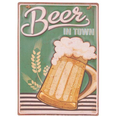 Metalen plaat - beer in town