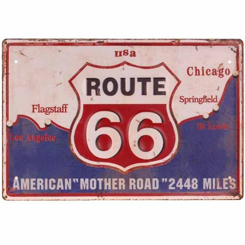 Metalen plaat - Route 66, blauw/wit