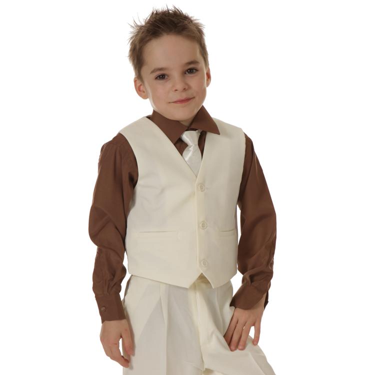 Kinderoverhemd lange mouw bruin- 92