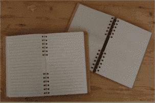 Komoni notitieboek binnenkant navul verpakking